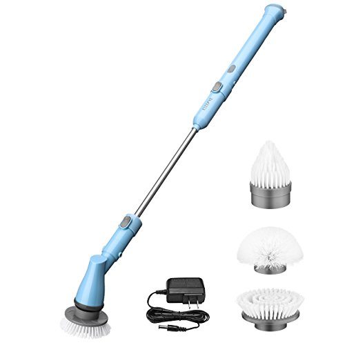Electric Spin Scrubber, ELLESYE Power Cordless Scrubber Rechargeable Tile and Bathtub Scrubber with 3 Cleaning Scrubber Brush Heads, 1 Extension Arm and Adapter for Shower, Bathroom, Kitchen, (Wet Arm Adapter)