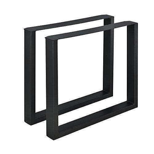 [en.casa] 2 x Conjunto de Patas de Mesa - Set de 2X Patas de Mesa - Metal - Patas de los Muebles - 80 x 72 cm - para Mesa de Comedor - Armazon de Mesa - con proteccion para Suelo - Negro