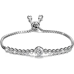 Gifts for Women NINASUN The Little Mermaid 925 Sterling Silver Adjustable CZ Tennis Bracelet Jewelry for Women Gifts for Mom Wife Daughter Girlfriend Sister Christmas Birthday Anniversary Mothers Day