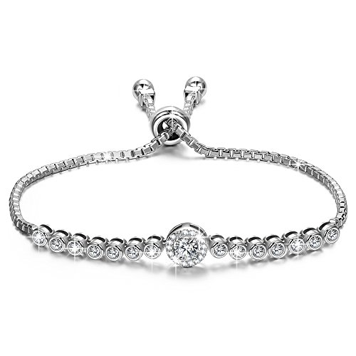 NINASUN Bracelet for Women 925 Sterling Silver Adjustable Chain Bangle Sparkling Cubic Zirconia Fine Fashion Costume Jewelry Birthday Gifts Present Her Ladies Girls Girlfriend Wife Sister Mum Mother from NINASUN