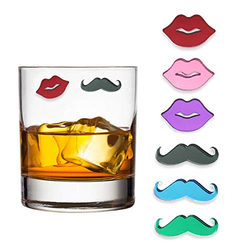 Claim Your Glass LIPS & MUSTACHES Cocktail/Wine Charm Drink Markers, Set of 6 - Magnetic Drink Markers for Stemmed or Stemless -
