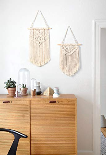 Mkono 2 Pcs Macrame Wall Hanging Art Woven Wall Decor Boho Chic Home Decoration for Apartment Bedroom Living Room… - This cute macrame wall hanging is created to fit in any space and budget. Beautiful wall art creates a sense of harmony and comfort for your room. It is great for a bedroom, dorm room, living area, baby nursery, workspace or anywhere where you'd like to bring some texture and interest to your walls. Mkono Macrame Wall Hanging is made of 100% Pure cotton cord, without artificial ingredients or chemicals. Sturdy, durable and premium quality. This cute and chunky macrame can make a big difference in any space. Its symmetrical design will fit in any interior. This woolen hanging makes a perfect statement piece for hanging over the head of a bed or baby crib, over a couch, fireplace mantel or desk, or near a window for adding a cozy touch to your living or work space. Great decoration for party, wedding, or as photo props. - living-room-decor, living-room, home-decor - 41pbzrg7kxL -