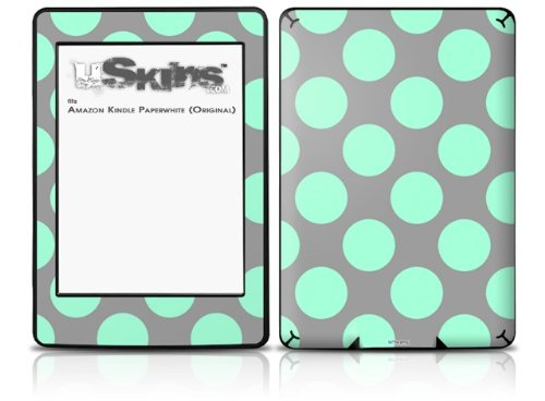 Kearas Polka Dots Mint And Gray - Decal Style Skin fits Amazon Kindle Paperwhite (Original)