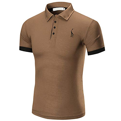 Romantiko Men's Casual Slim Fit Short Sleeve Polo Fashion T-Shirts with Giraffe Embroidery Brown XL/Tag - Brown Dark Giraffe