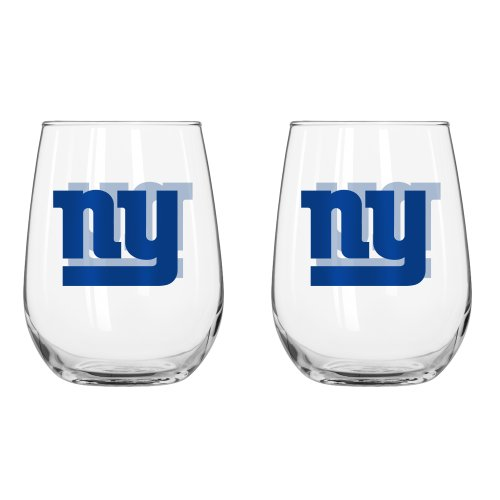NFL New York Giants Curved Beverage Glass, 16-ounce, - Glasses Ny