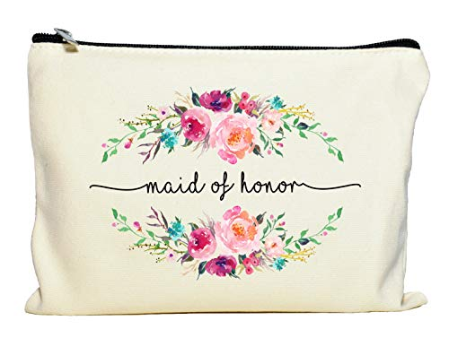 Maid of Honor Makeup Bag, Maid of Honor Gift, Bridal Party Favor, Cosmetic Pouch, Wedding Party Gift, Gift from Bride