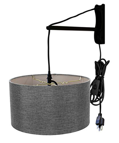 - MAST Plug-in Wall Mount Pendant, 1 Light Black Cord/Arm, Granite Gray Shade 18x18x10