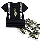 Lavany Toddler Boys Clothes 2pc Short Sleeve Print Tops+Como Shorts Casual Outfits Black