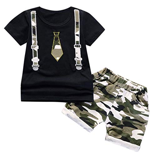 2Piece Toddler Baby Boys Gentleman Summer Outfit Set,Print Short Sleeve T-Shirt Camouflage Shorts Pants Kids Clohtes Suit, (Cute Santa Outfit)