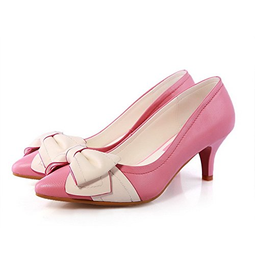 AllhqFashion Women's Pointed Closed Toe Sheepskin Kitten Heels Solid Pumps with Bowknot and Two-Toned, Pink, 8 B(M) US