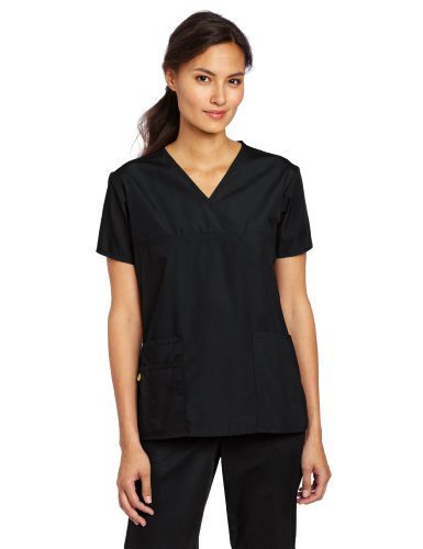 - WonderWink Women's Scrubs Charlie 5 Pocket Y-Neck Wrap Top, Black Solid, XX-Small