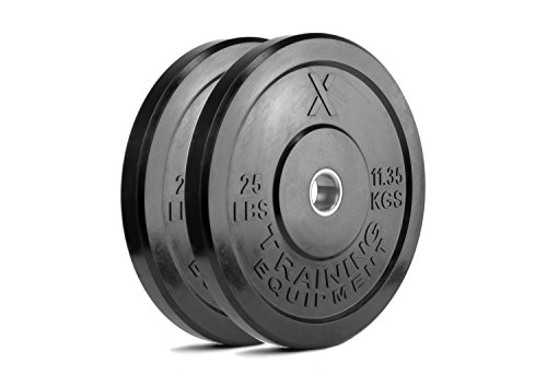 X Training Equipment Premium Black Bumper Plate Solid Rubber with Steel Insert - Great for Crossfit Workouts (25lb Pair)