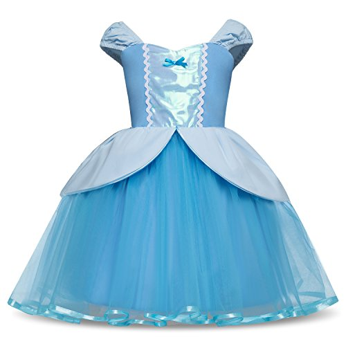 Colorfog Halloween Cosplay Princess Birthday Pageant Dress Costumes for Baby Girls Fancy Dress (12 Months, Sky Blue) (Costume Cinderella For Baby)