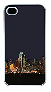 iPhone 4 4s Cases & Covers - Dallas Texas Night Skyline PC Custom Soft Case Cover Protector for iPhone 4 4s - White