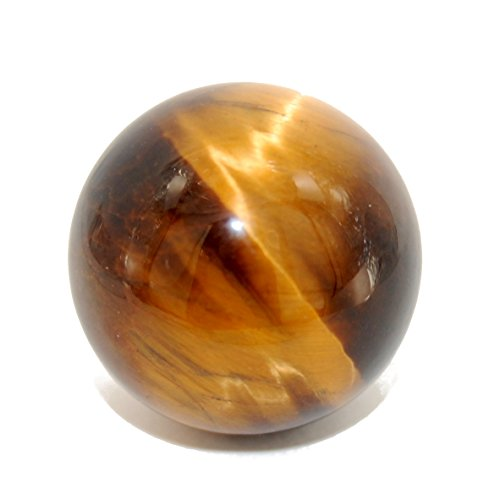 Gemstone Globe Pillar - Crystal Grotto Collection - Crystal Ball 20mm, Tigers Eye Golden Brown, Natural Gemstone Round Sphere Desk Ornament