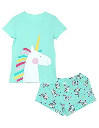 Girls Unicorn Pajamas - 100% Cotton Short Sleeve Tee & Shorts Summer Jammies Set Sleepwear Size 4T (Halloween Jammies)