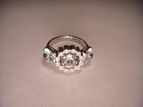 White Gold Aquamarine Pink Tourmaline Diamond Ring Band ()