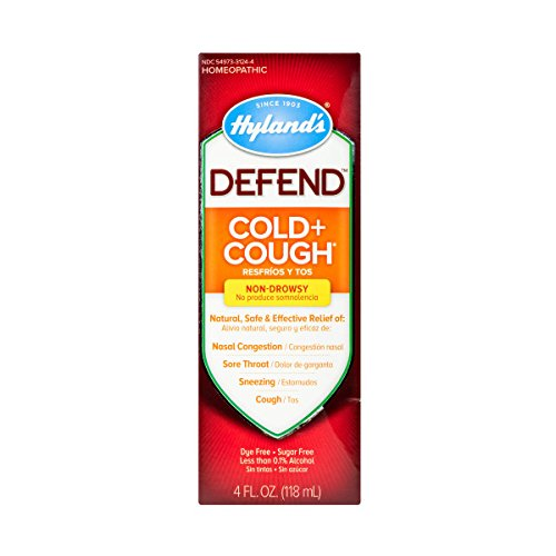 Hyland's DEFEND Cold and Cough Liquid, Natural Relief of Nasal Congestion, Cough, Sore Throat, and Sneezing, 4 Ounce