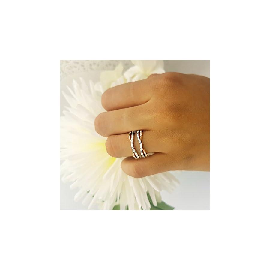 Dazzlingrock Collection AGS Certified 0.50 Carat (ctw) 10K White & Rose Gold Round Diamond Ladies Guard Wedding Band 1/2 CT