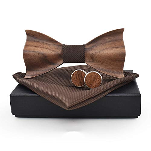 Novelty Wood Bow Tie Handmade Groom Groomsman Pre-tie Bowtie Pocket Square and Men