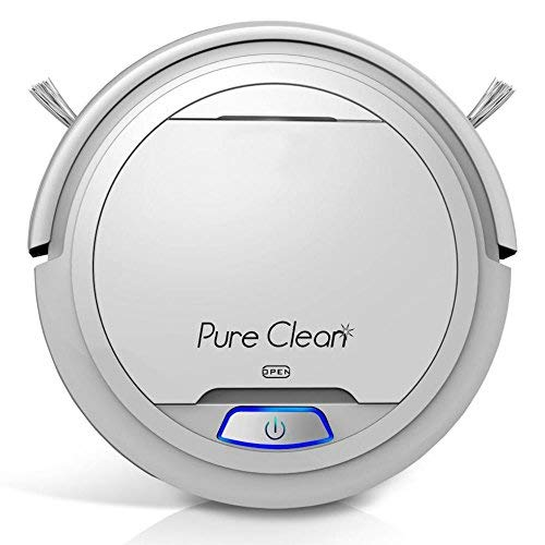 Pure Clean Robotic Vacuum Cleaner – Robot Home Cleaning for Clean Carpet Hardwood Floor – Bot Self Detects Stairs – HEPA Filter Pet Hair Allergies Friendly
