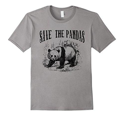 Men's Save the Pandas T-shirt by Scarebaby Medium Slate