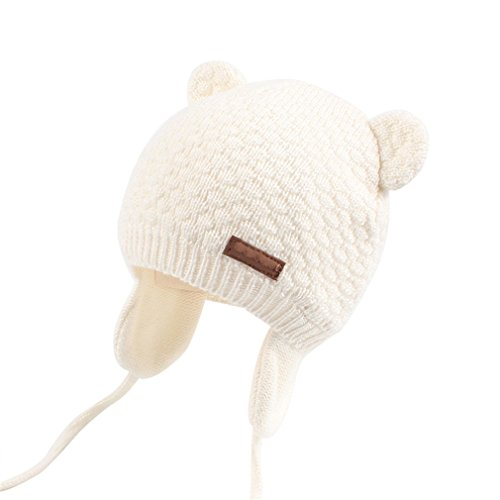(Bear Ears Cute Baby Hat Soft Cotton Newborn Baby Beanie Double Layer Beige 0-6 Months)