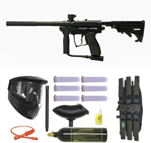 Spyder MR100 Pro Paintball Marker Gun 3Skull Super Mega Set - Black