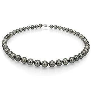 14k White Gold 8-12mm Black Round Tahitian Cultured High Luster Pearl Necklace, 18