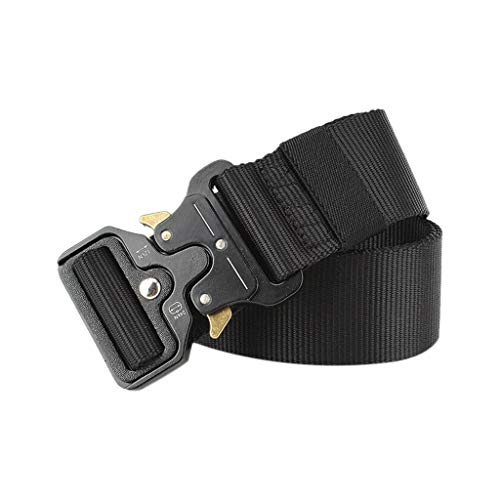 """Price comparison product image Men Military Tactical Belt,  Tuscom Military Style Nylon Webbing Web Belt Breathable Canvas Tactical Rigger Waist Belt with Heavy-Duty Quick-Release Metal Buckle,  49"""" Inch (Brown)"""