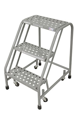 Step Rolling Safety Ladder - Cotterman 1003N1820A6E10B3C1P1 All Welded Ready to Use Rolling Steel Safety Ladder, 3-Step, 30