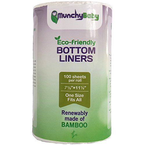 "Flushable Cloth Diaper Liners of Biodegradable Bamboo Viscose by MunchyBaby 7½""×11 1/2"""