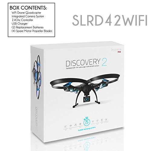 41pc1waQ5bL - SereneLife WiFi FPV Drone with HD Camera and live Video. Headless Mode Quadcopter, Altitude Hold, 1-Key Takeoff/Landing, Bonus Battery, Low Voltage Alarm, Custom Route Mode, 15 Minutes Flight Time