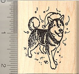 Huskies Santa - Santa Hat Husky Dog Rubber Stamp - Wood Mounted
