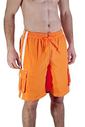 Mens Swim Trunk With Cargo Pockets XX-Large, Orange