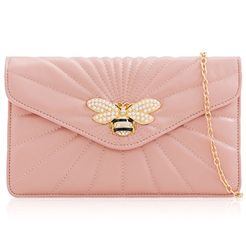 Medium Ladies Evening Clutch London Dragonfly Faux Pink Pastel Colours Envelope Prom Broach Xardi Leather Women Handbag Parties Bag BP5qHwnw