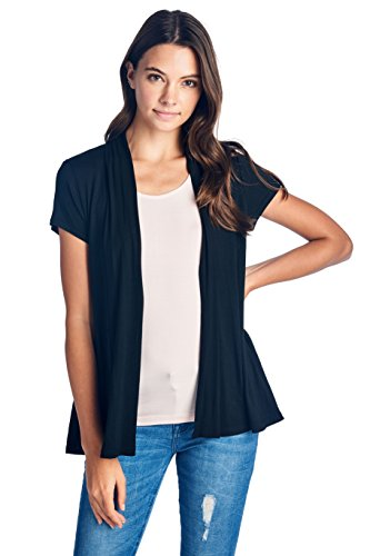 ReneeC. Women's Extra Soft Natural Bamboo Short Summer Cardigan - Made in USA (2X-Large, Black)