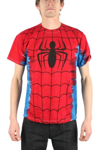 Men's Marvel Comics Spider-man Suit Costume Tie-Dye Big Print Subway T-shirt S