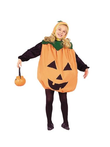 [Child Medium 8-10 for 6-8 Yrs - ECONOMY Low Budget Pumpkin Costume (Pumpkin pail, tights, shirt not by RG] (Halloween Costumes For 4 People)