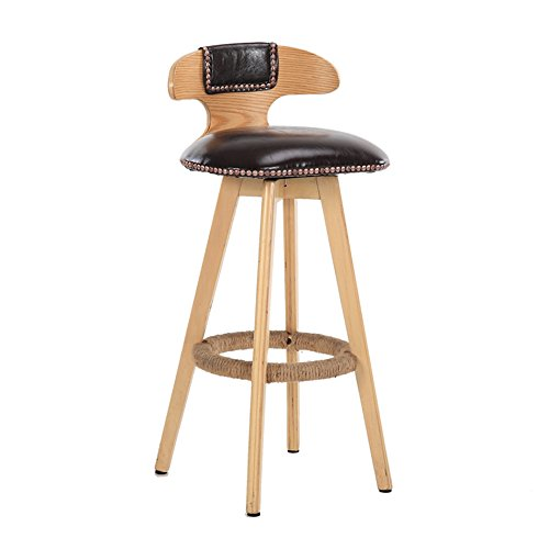 E SYF Barstools Retro Style Bar Stool Stool High Stool Dining Chair Wooden Chair Can Turn Chair 80X42 cm A+ (color   D)