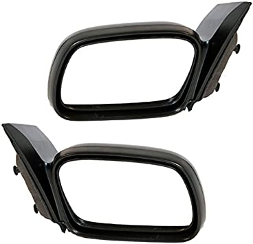 Door Mirror Power Smooth Black Pair Set Both 06-11 Honda Civic 2 Door Coupe