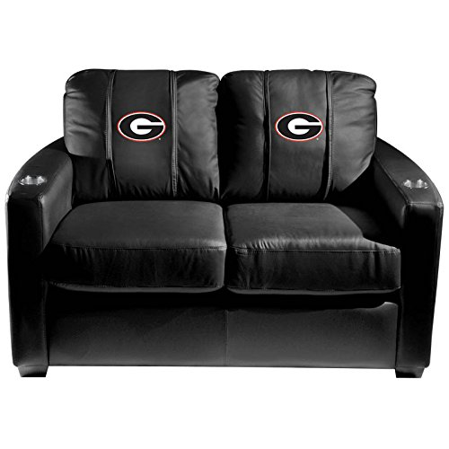 XZipit College Silver Loveseat with Georgia Bulldogs Logo Panel, Black