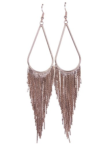 [Vijiv 1920s Drop Tassel Earrings 20s Flapper Jewelry Costumes Accessories Rose Gold] (60s Inspired Costumes)
