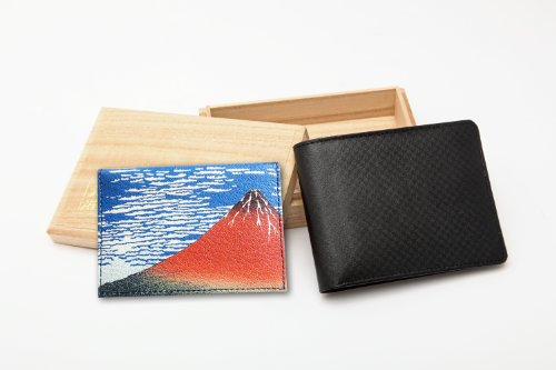 Matsumura Fumio Production: Men's Two Bi-fold Cowhide Wallet/fine Wind, Clear Morning (Id Case with a Japanese-style Painting) (Black Seal/gold/fine Wind, Clear Morning) by Fumio Matsumura (Image #7)