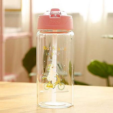 Botella De Agua De Vidrio De Unicornio Para Niños Con Pajitas Y Tapas Abatibles Fuga De Prueba Para Fugas Botella De Bebida C: Amazon.es: Hogar