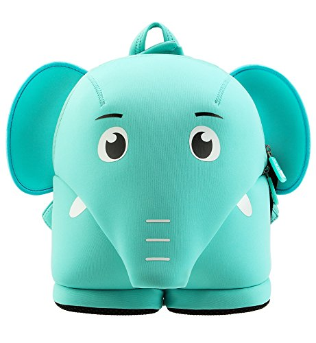 Tom Clovers 3D Green Pink Elephant Cartoon School Bag Kids Backpack with Safety Leash Harness Pre School Children Toddler Blue