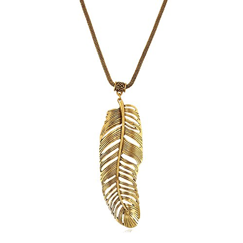 - Grenf Fashion Retro Bohemia National Style Gold Silver Tone Necklace Long Sweater Chain Womens Necklace Native American Dream Catcher Colorful Feather Necklace Filigree Tribal Dreamcatcher Pendant (The leaves of Banana Leaf Necklace - Antique Gold)
