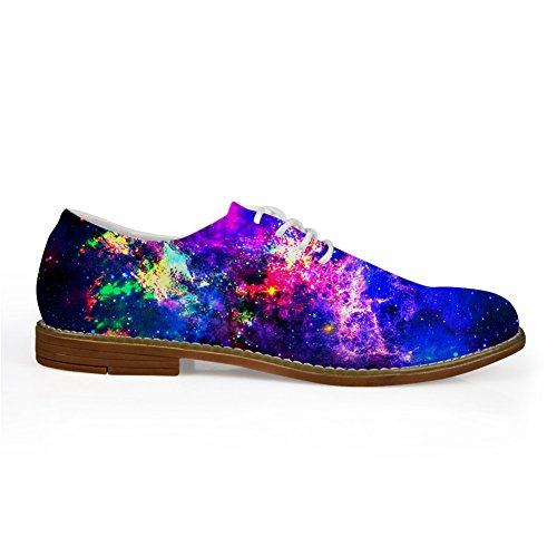 HUGS IDEA Galaxy Mens Fashion Lace Up Oxford Flats Shoes Galaxy 12 FQTXe8
