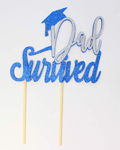 (All About Details Dad Survived - Grad Cap Cake Topper, 1PC, Graduation Party, Glitter Topper (Blue & Silver))