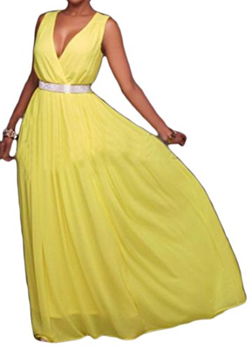 Womens V Swing Cruiize Deep Sleeveless Yellow Dress Neck Elegant Maxi Bridesmaid wITHqd